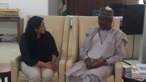 Minister of State, Aviation, Senator Hadi Sirika in a chat with British High Commission Head of Aviation Security, Jankie Milies in his office at Abuja