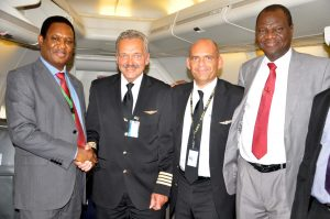 Head of Flight Operations, Med-View Airline Plc, Captain Godfrey Ogbogu, (2nd left)receiving from left, Capt. Fritz Norrgard, Capt. Santiago Gomez and Director of Engineering, Med-View Airline Plc, Engr. Lookman Animashaun on their arrival from UK to Murtala Mohammed International Airport, Ikeja, Lagos.