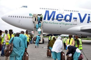 Med-View Airline Passengers for this year Pilgrims boarding an aircraft to Saudi Arabia at the Hajj Camp of the Murtala Mohammed International Airport, Ikeja, Lagos yesterday