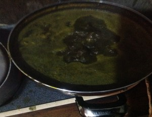 the soup turns black and thickens because of the leaves