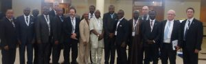 President ACI World, Angela Gittens with President ACI Africa Engineer Saleh Dunoma flanked either side by other delegates