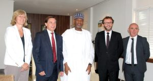 Minister of State Aviation, Senator Hadi Sirika flanked to the left by Ambassador of France in Nigeria, Denys Gauer and the executives of Airbus Group