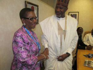 Minister of State, Aviation, Hadi Sirika and the Secretary-General of African Civil Aviation Commission, AFCAC Ms. Iyabo Sosina