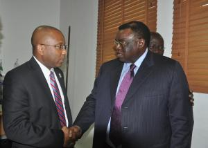 R-L Chairman Arik Air Sir Joseph Arumemi-Ikhide and Dr. Harry Williams President Delaware State University.