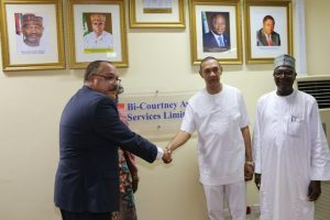 Chairman, Senate Committee on Aviation, Senator Ben Murray-Bruce (left) and the Chief Executive Officer, Bi-Courtney Aviation Services Limited (BASL), operator of the Murtala Muhammed Airport Terminal Two (MMA2), Lagos, Captain Jari Olubunmi Williams, after a tour of MMA2 facilities by the committee