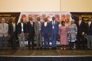 L-R: Rizman Kadiri,  MD, Skyway Aviation Handling Company Limited (SAHCOL), Mr Chris Aligbe, CEO Belujane Konzult, Richard Kyereh, Dr. Head of Commercial, Africa World Airlines(AWA), Yomi Jones, Fmr.MD Nigerian Airways, Richard Aisuebeogun, Fmr. MD FAAN, Capt. Mike Omokore CEO Broadlinks Aviation, Mr. Chike Ogeah, SAHCOL Vice Chairman,  Aketch Dorcas, Aviation Consultant, Fatimah Garbati, Fmr. President NATOP,  Capt. Dapo Olumide, Fmr MD Virgin Nigeria and Mr. Femi Adefope, MD HRG
