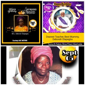 Mrs. Olapegba Deborah is a Mother of one professor in university of Ibadan, professor Peter olamakinde olapegba ,while she is in service