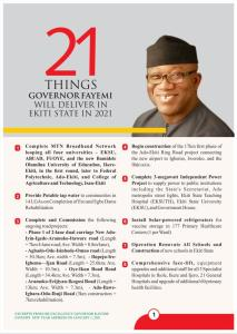 #EkitiState: 21 Things #Fayemi Will Deliver In #2021