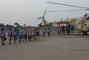 Chibok schoolgirls boarding helicopter to Abuja
