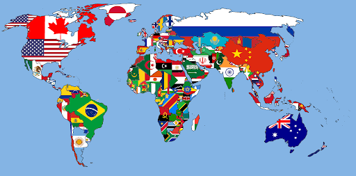 Image of flag map of the world