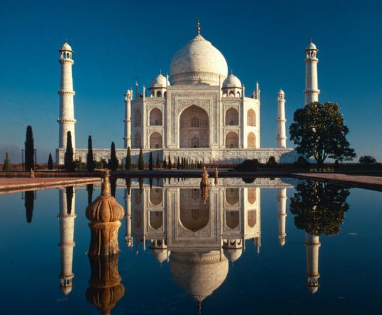 Southern view of the Taj Mahal - widely recognized as the jewel of muslim art in India