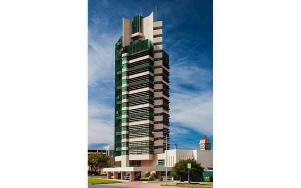 price Tower, the only skyscraper designed by Frank Lloyd