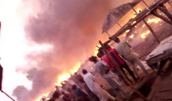 PHOTOS: Yola South Main Market Razed By Fire