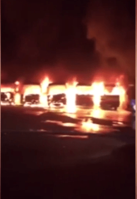 Construction Workers Set Fire to 9 Company Buses After Management Sacked Thousands