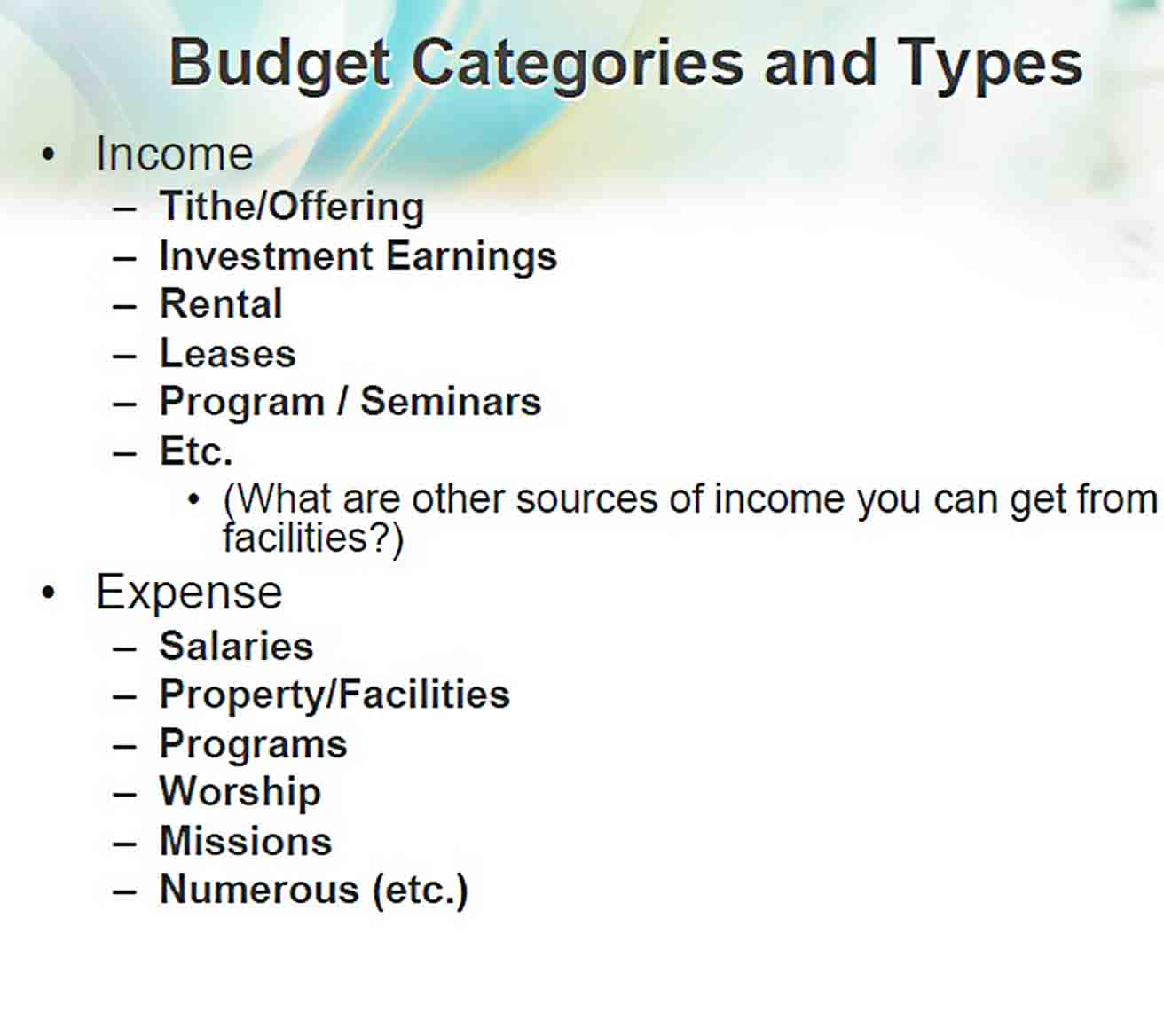 Sample Church Budget Template