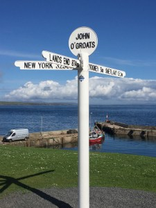 Pole at John O'Groats with the Orkneys beyond (c) ABR 2016