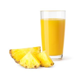 glass of pineapple juice on a white background