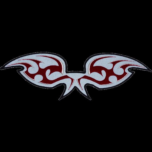 Red and SIlver wings reflective embroidered patch. Nightfire Patches®