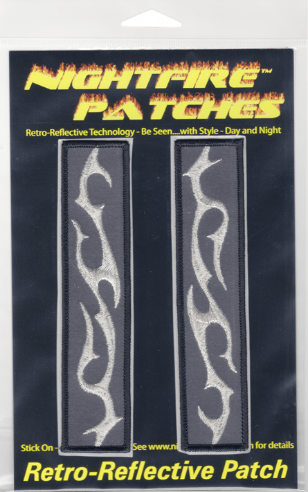 Metallic Silver Tattoo Bands reflective embroidered patch. Nightfire Patches®