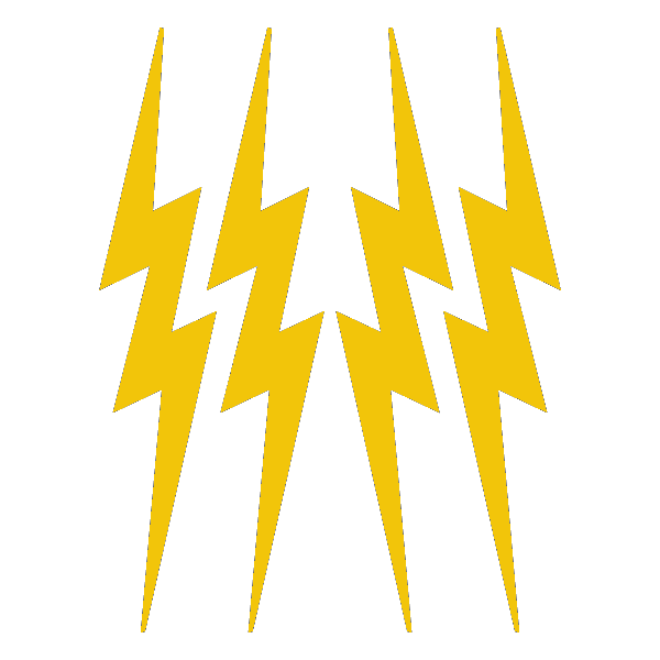 "Yellow Lightning Bolts 3 5/8"" x 4 3/4"" reflective vinyl decal. Nightfire Patches®"