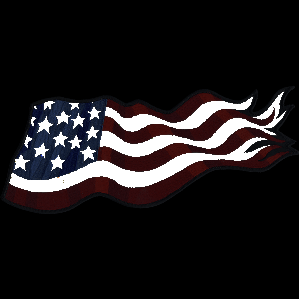 """American Flag Back Piece 11"""" x 4"""" reflective embroidered patch. Nightfire Patches®"""
