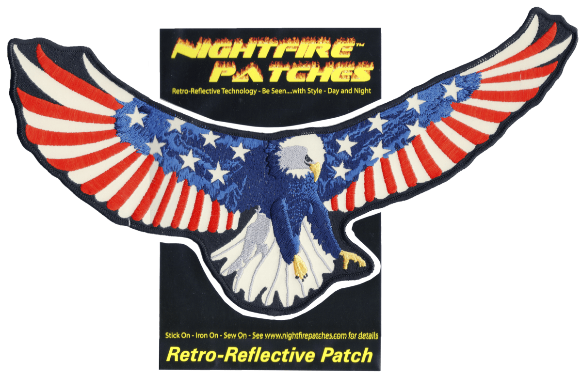 """Packaged American Eagle Back Patch 14"""" x 7.25"""" inches reflective embroidered patch. Nightfire Patches®"""