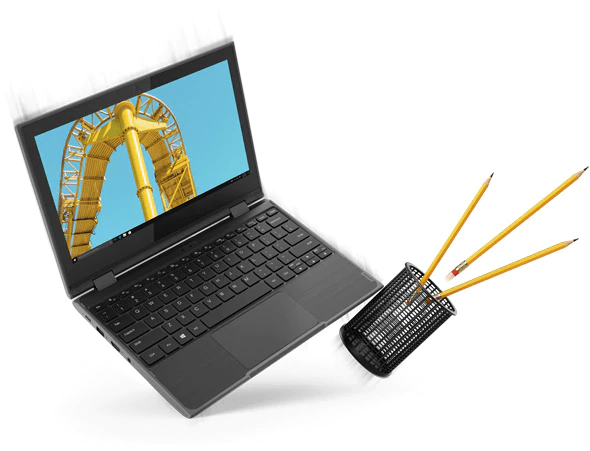 The Lenovo 300e 2-in-1 laptop (2nd Gen) open 90 degrees, with a cup of pencils alongside it.