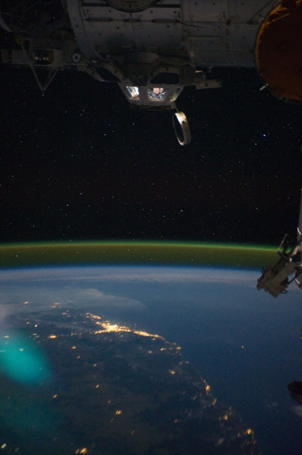 Stunning image of Brisbanes lights and part of ISS from