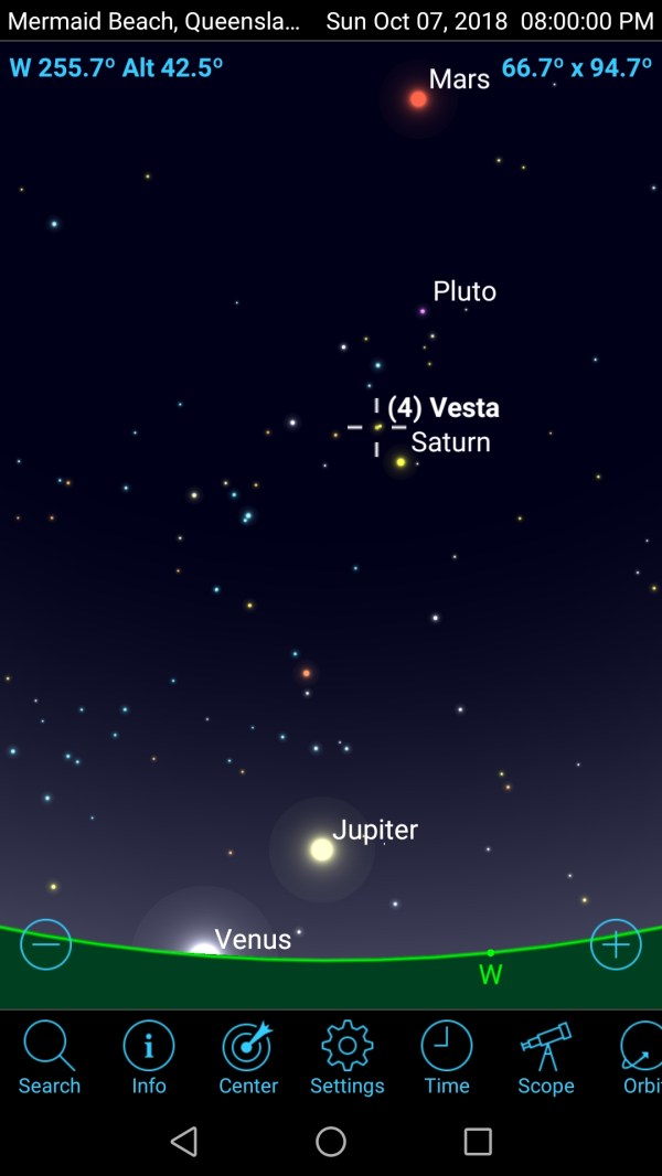 7 October 2018 Four planets and an asteroid visible in