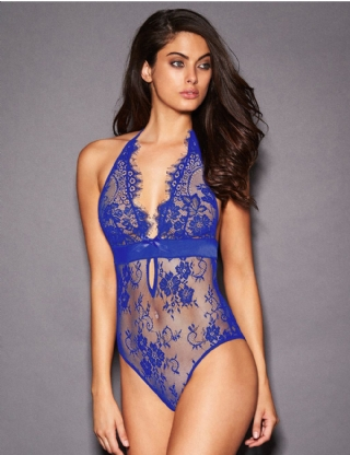Blue Deep V Backless Exquisite Lace Teddy
