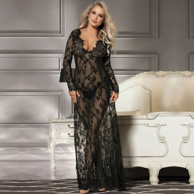 Black Lace Long Sleeve Sleepwear Gown