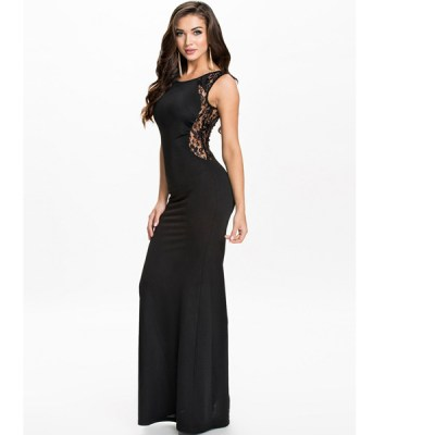 Black Lace Patchwork Sleeveless Maxi Dress