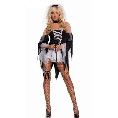 Black and White Womens Halloween Zombie Bride Costume
