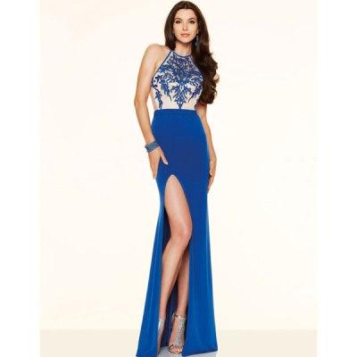 Blue Embroidery Elegant Slit Evening Dress