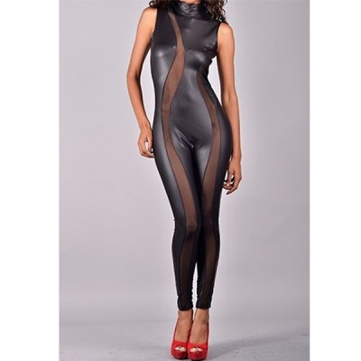 Leather And Mesh Body Suit