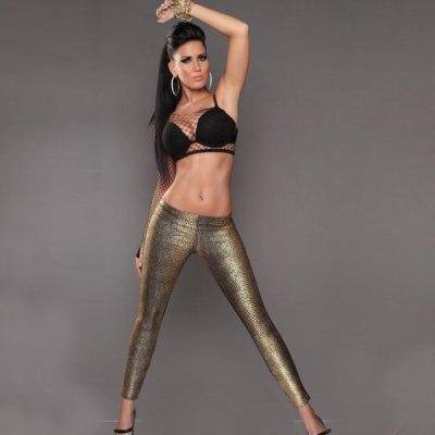 Metallic Gold Snakeskin Print Front & Black Back Leggings