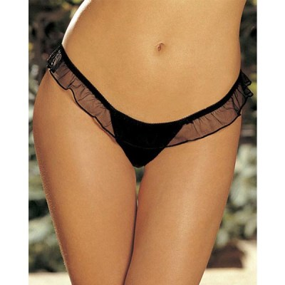 Mesh Big Bow Ruffled Thong P5082-1