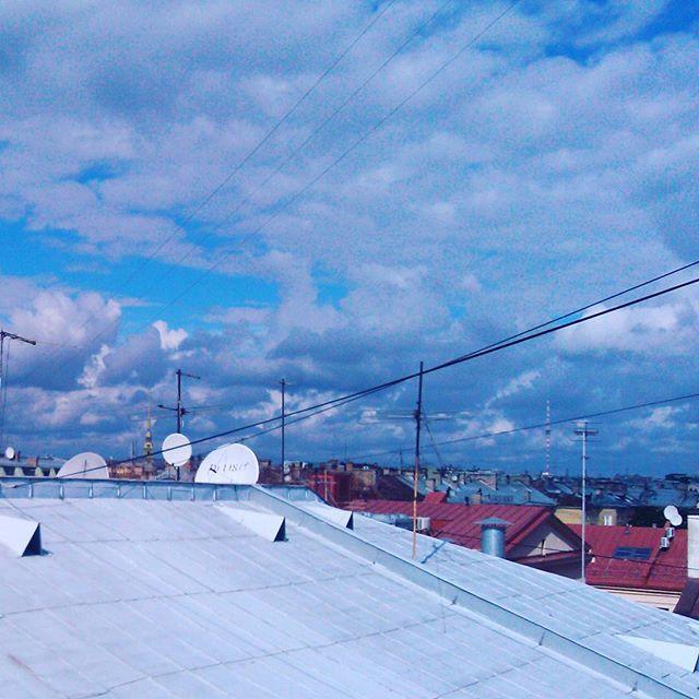 Вид на Петропавловский собор и телебашню с мансарды на Малой Конюшенной улицы