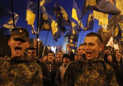 Svoboda march together with UPA and other nationalists to the memory of Nazi ally, Stepan Bandera, Kyiv 2011.