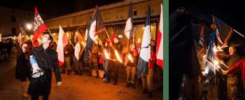"""Томаш Янковский на марше """"Фаланги"""" в Кракове (с мегафоном) и во время совместного сожжения флага НАТО. Краков, 11 ноября 2014 г."""