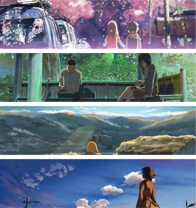 Some of Makoto Shinkai's amazing works.
