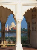 View across the river to the Taj Mahal