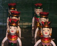 Glossy Vibrant Laquered water puppets, Hanoi