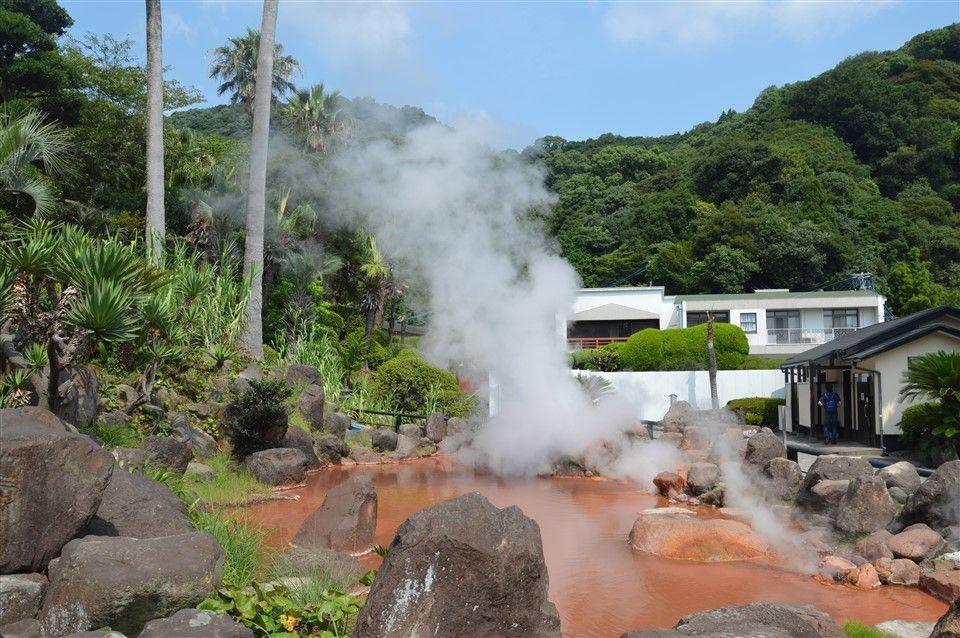 Une source d'eau chaud au Japon