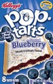 Kellogs blueberry flavored pop tarts