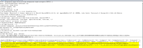 Figure 4: HTTP request with encrypted parameters values so attacker unable to tamper
