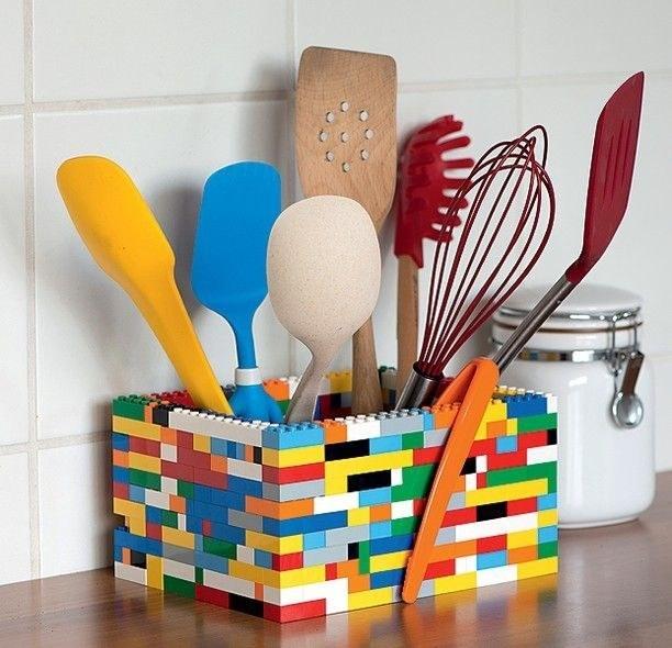 organização diy - legos como porta talheres