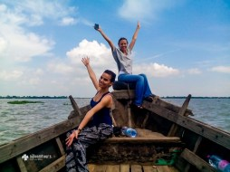 Ms. Marina and colligue from Russia on river Meghna