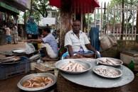 Fish seller on the village market. ©Photo: Tony Eales