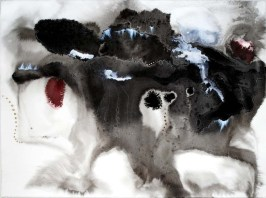 Ash Breath, ink, gouache, pencil and burns on paper, 22 x 30 inches, 2010